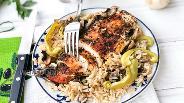 Фото рецепта Запечённый рис с куриной грудкой и овощами