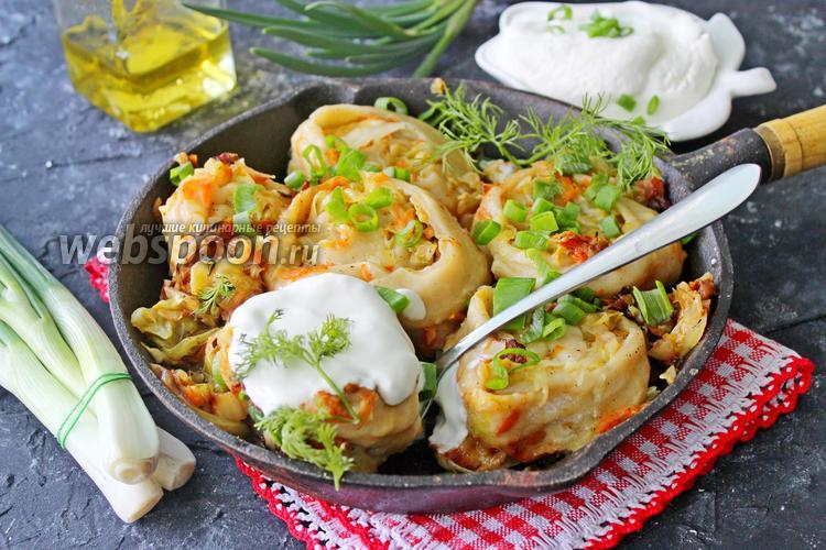 Фото Ленивые штрудели с капустой на сковороде