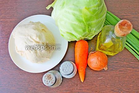 Подготовьте все необходимые ингредиенты для работы, а именно: тесто готовое пельменное (или вареничное), капусту молодую, крупную луковицу, морковь, соль, перец, масло подсолнечное и зелёный лук.