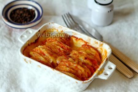 Картошка с помидорами и сыром моцарелла в духовке