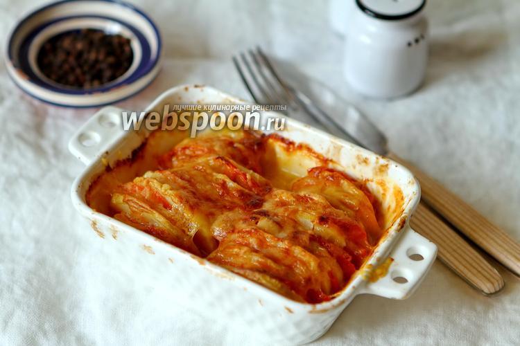 Фото Картошка с помидорами и сыром моцарелла в духовке