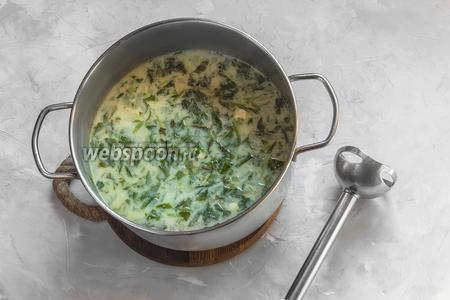 Солим суп по вкусу (обязательно пробуйте степень «солёности», так как сырок может быть более/менее солёным). Измельчаем погружным блендером или в чаше комбайна.