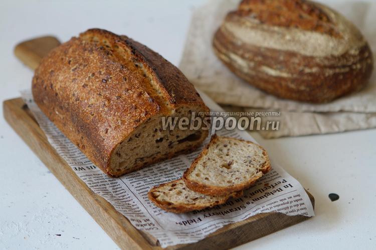 Фото Пшенично-ржаной хлеб на закваске с семенами льна и семечками подсолнуха
