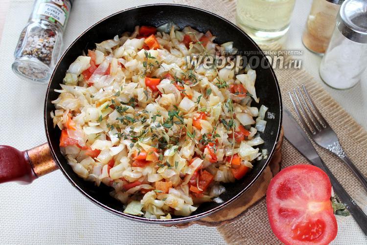 Фото Капуста жареная с помидорами