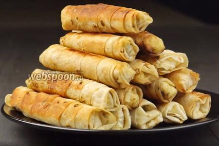 Фото рецепта Пирожки-сигары с творогом из лаваша. Видео-рецепт