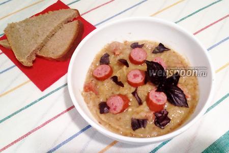 Кабачково-гречневый суп-пюре с охотничьими колбасками