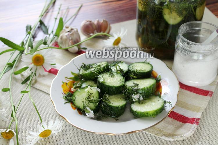 Фото Малосольные огурцы с соевым соусом и чесноком