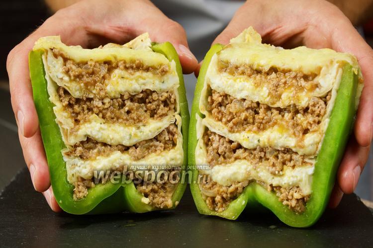 Фото Перцы фаршированные фаршем, сыром и лавашом. Видео-рецепт