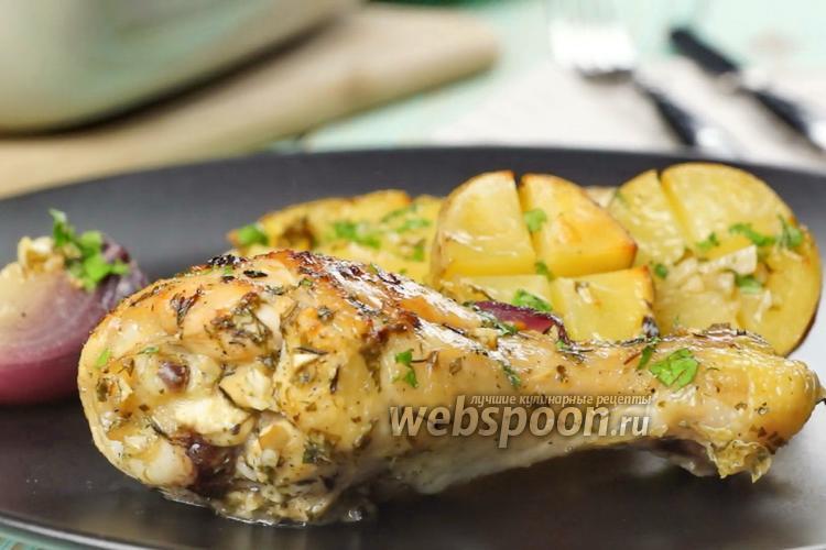 Фото Курица с картошкой и чесноком. Видео-рецепт