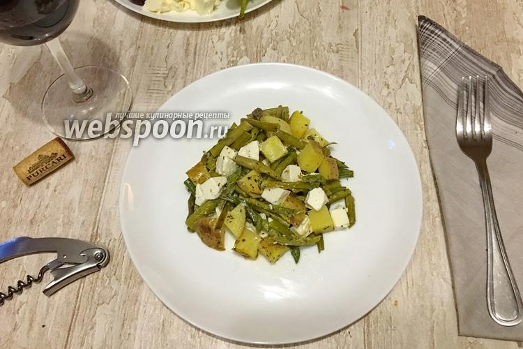 Фото Тёплый салат с молодым картофелем, спаржей и Фетой
