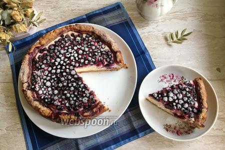 Фото рецепта Творожно-черничный пирог