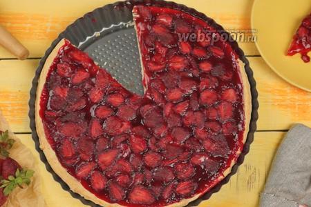 Фото рецепта Клубничный пирог (тарт) из песочного теста. Видео-рецепт