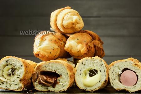 Любимые вкусняшки по-новому — кунжутные круассаны с начинкой. Видео-рецепт