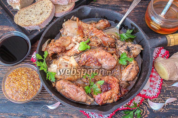 Фото Курица тушёная в имбирно-соевом соусе
