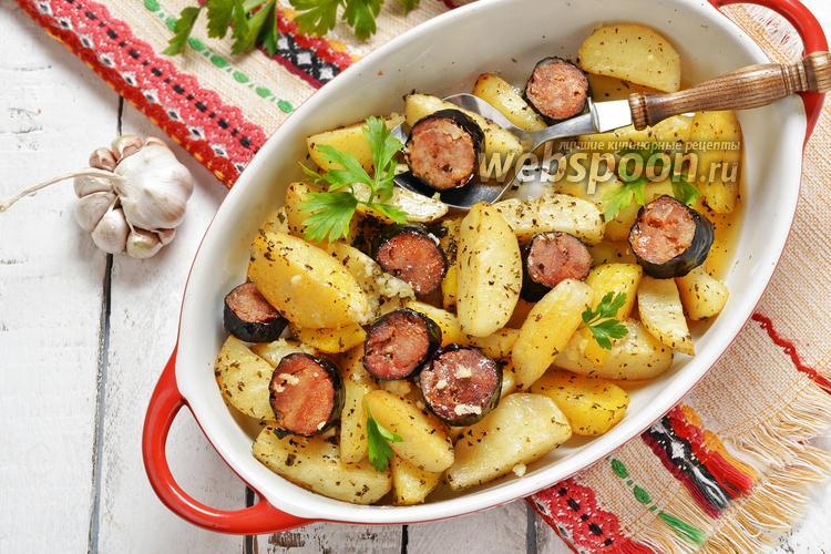 Фото Картошка с колбасой в духовке