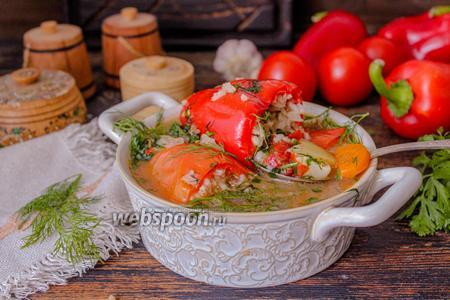 Фото рецепта Фаршированный перец в соусе с тушёными овощами