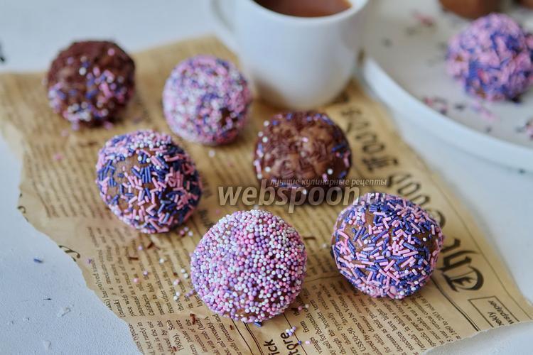 Фото Шоколадные бисквитные шарики со сгущёнкой