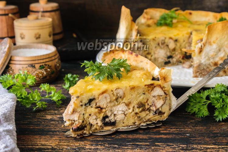 Фото Пирог с курицей и грибами в лаваше