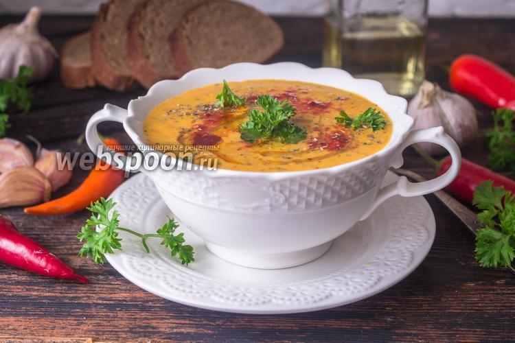 Фото Чесночный тыквенный суп-пюре с кокосовыми сливками