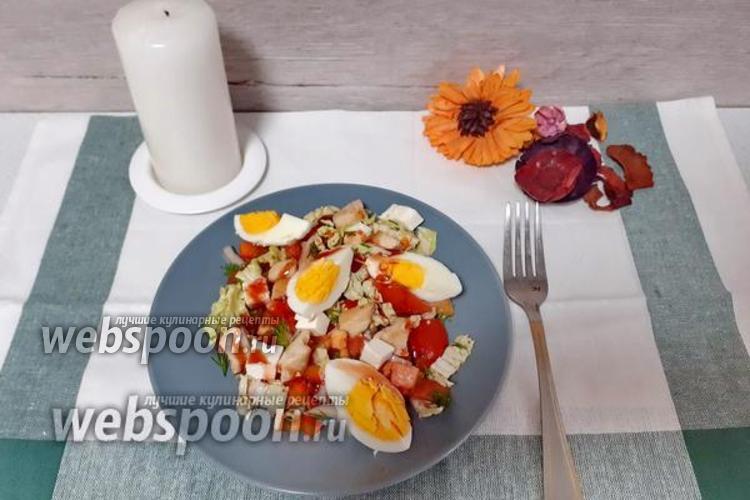 Фото Овощной салат с курицей и сыром