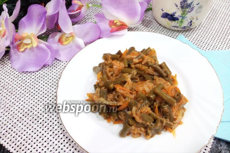 Фото Стручковая фасоль с пекинской капустой на сковороде