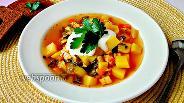 Фото рецепта Суп с запечённой курицей и мангольдом
