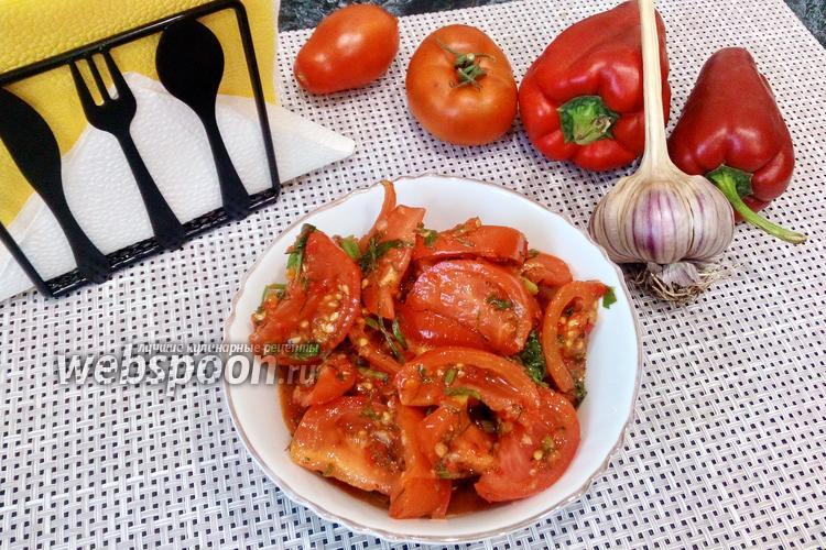 Фото Холодная острая закуска из помидоров