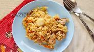 Фото рецепта Плов со свининой и белыми грибами на сковороде