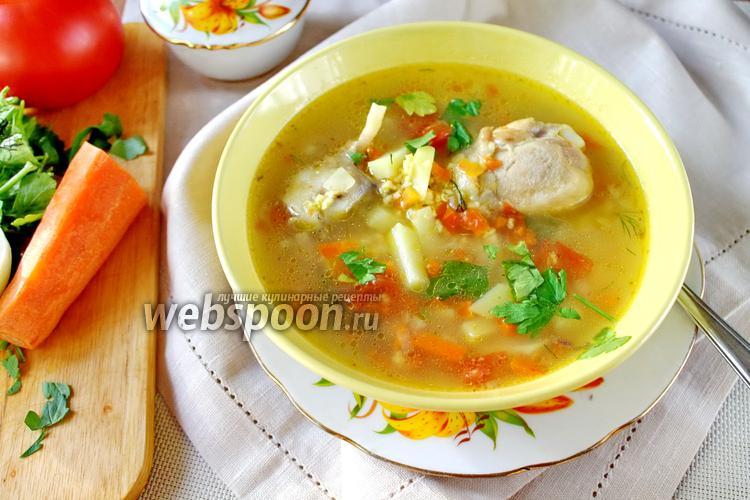 Фото Куриный суп с овощами и пшёнкой