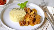 Фото рецепта Тушёная говядина с имбирём и шампиньонами