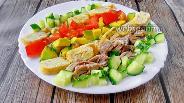 Фото рецепта Салат с блинами и чесноком