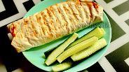Фото рецепта Лаваш с яичным блином и творожным сыром