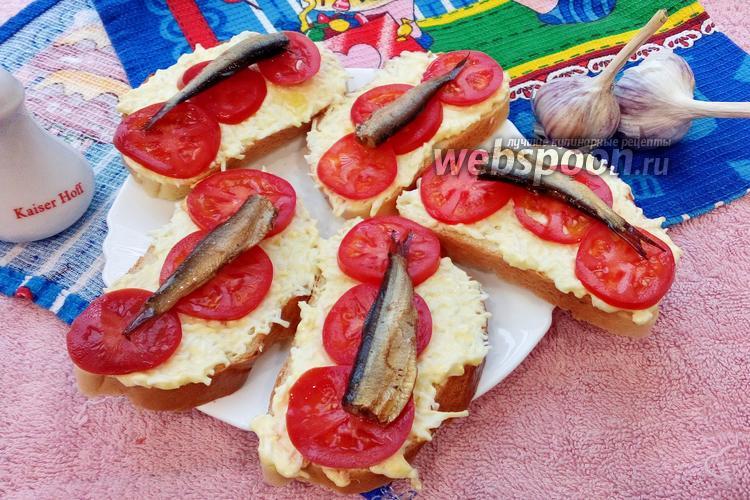 Фото Бутерброды со шпротами и яично-чесночной намазкой