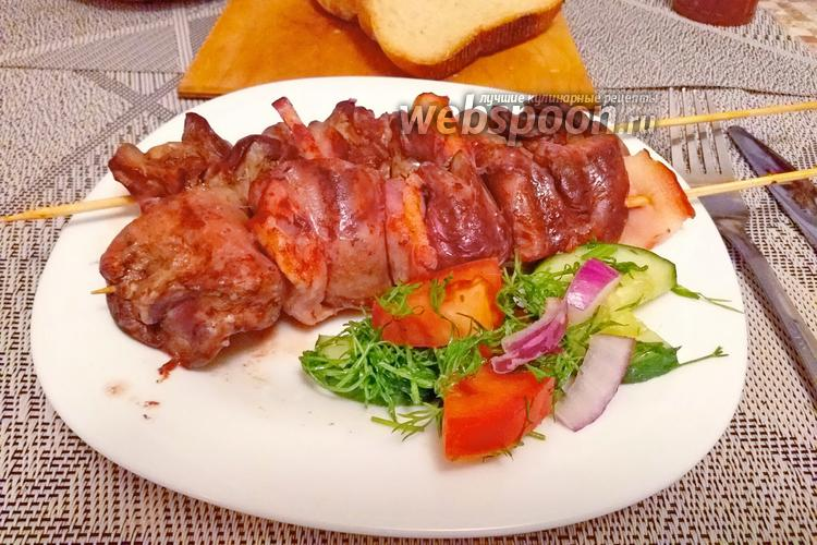 Фото Шашлычки из куриной печени с копчёной грудинкой