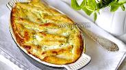 Фото рецепта Лапшевник с творогом, сыром и зеленью