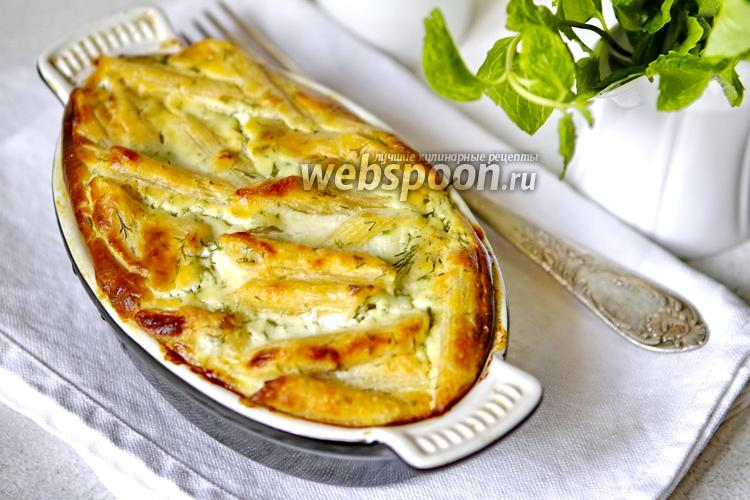 Фото Лапшевник с творогом, сыром и зеленью