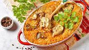 Фото рецепта Запечённая скумбрия с рисом