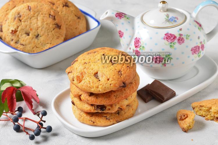 Фото Печенье с изюмом и шоколадом