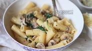 Фото рецепта Паста с грибами и шпинатом