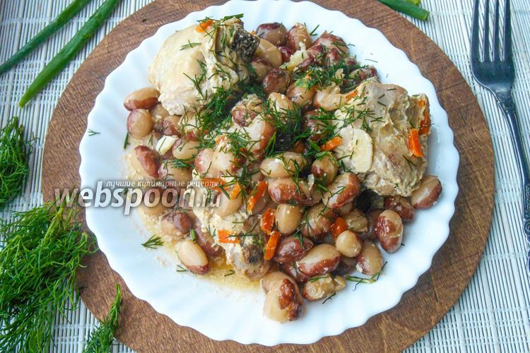 Фото Курица с фасолью в сметанном соусе