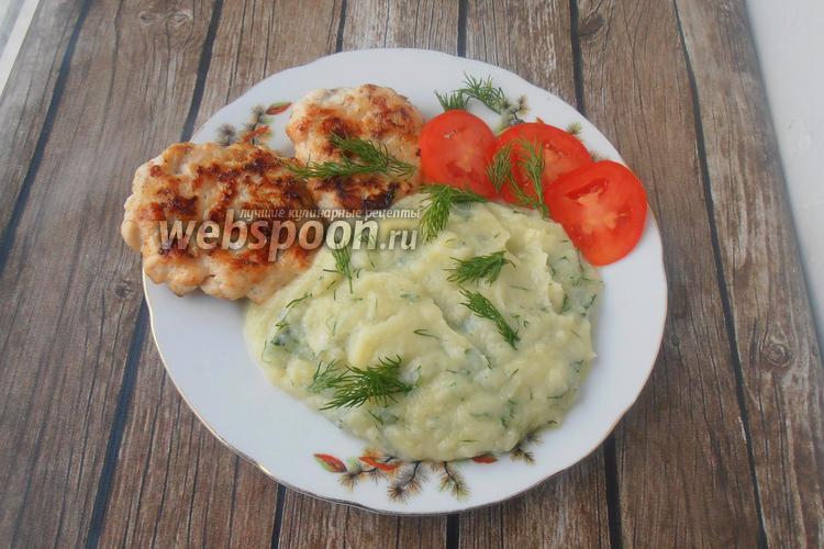 Фото Пюре из цветной капусты с чесноком и укропом