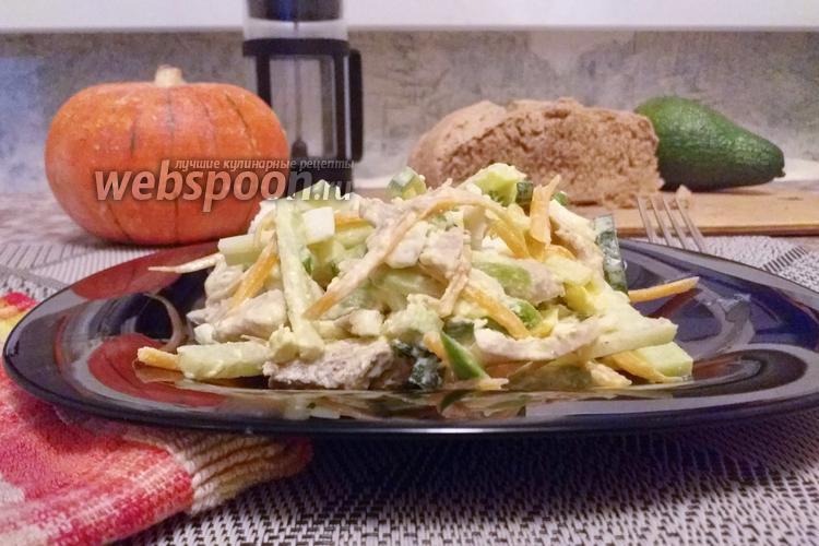 Фото Салат с зелёной редькой, огурцом и мясом