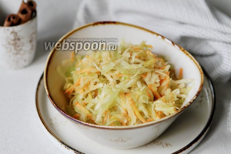 Фото Салат из зелёной редьки с яблоком и морковью