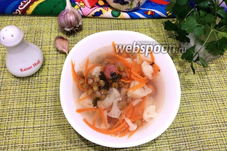 Фото Суп из цветной капусты с колбасками