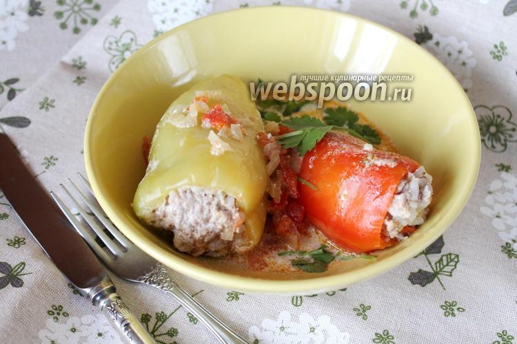 Фото Фаршированные замороженные перцы в сметанном соусе