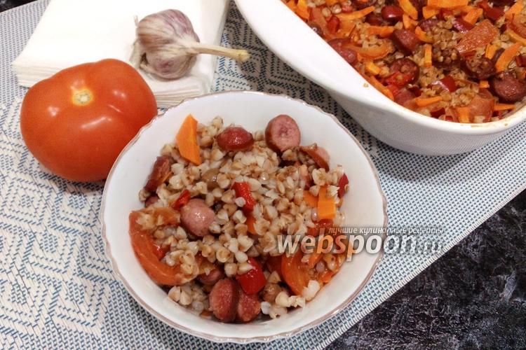 Фото Гречка с охотничьими колбасками и изюмом