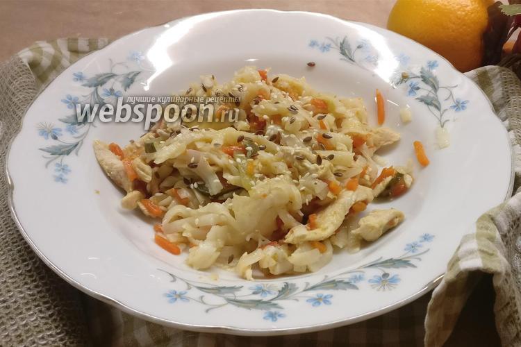 Фото Рисовая лапша с овощами и куриной грудкой
