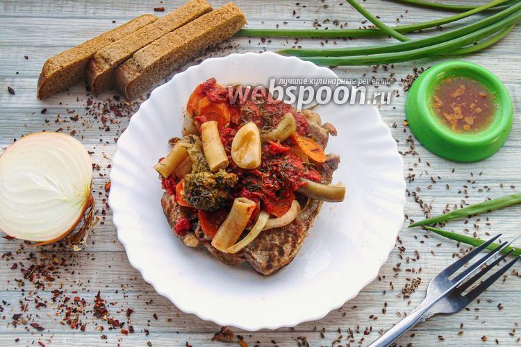 Фото Тушёная свинина с овощами в томатном соусе