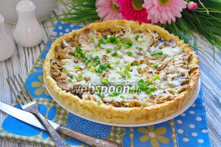 Фото Пирог на картофельном тесте с грибами и курицей