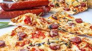 Фото рецепта Пицца на лаваше с охотничьими колбасками